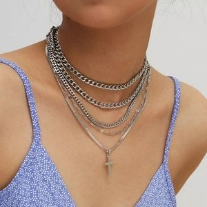 Silver Multilayer Cross Necklace